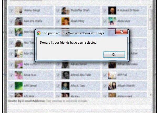 cara untuk jemput semua rakan dalam facebook event